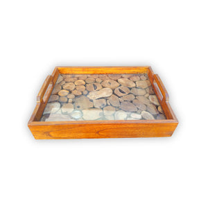 160415-sm Teak Tray with Glass - SMALL
