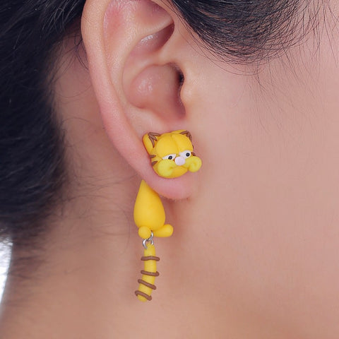 Handmade Cartoon Garfield Cat Stud Earring