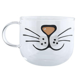 Cat Glass Coffee Mug  Transparent Clear Water 550ML