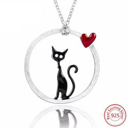 925 Sterling Silver Cat with Love Heart Round Shape