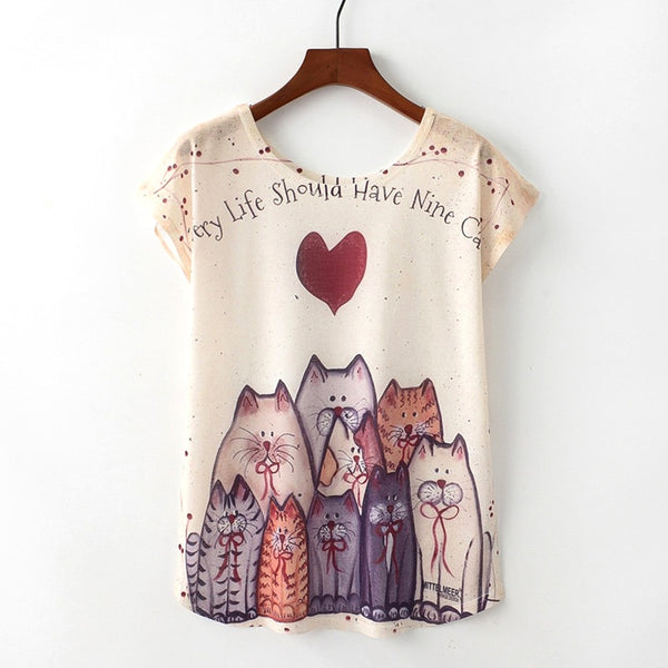 Cute Style Cat Print T-shirt Short Sleeve