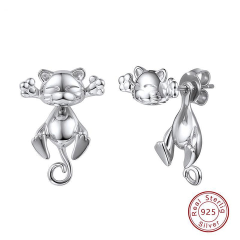 925 Sterling Silver Stud Earrings 3D Cute Cat