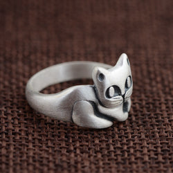 Real 990 Pure Silver Jewelry Cute Cat Finger Rings