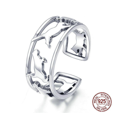 Hot Sale 925 Sterling Silver Cat Playing  Open Rings