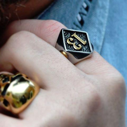 Lucky 13 Gold Skull  Ring
