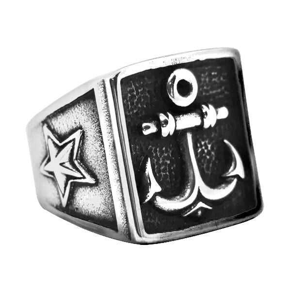 Anchor Star Signet Ring