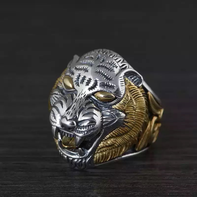 925 Two-tone Tiger Ring