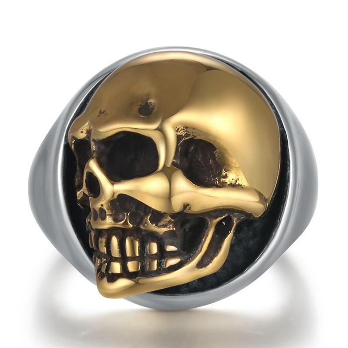 Gold Side Skull Ring
