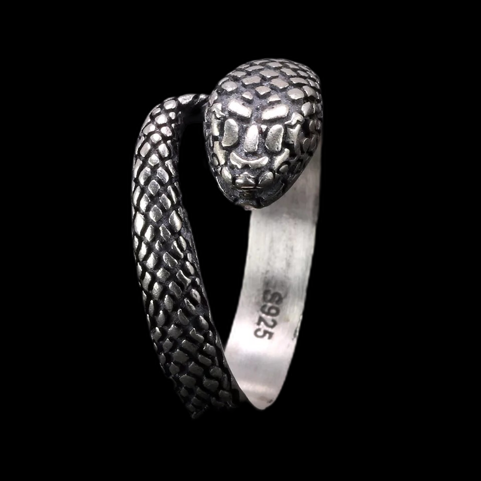 925 Snake Skull Mouth Wrap Ring