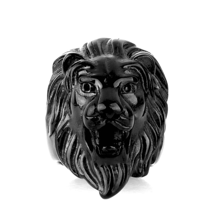 Lion Head Black Ring