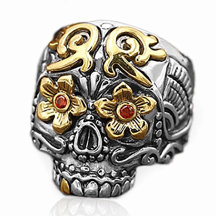 925 Two-Tone Calavera Ring