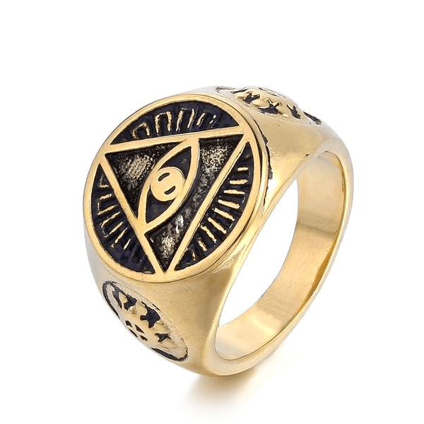 All Seeing Eye Triangle Gold Ring