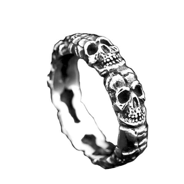 Stacked Skull Head Ring