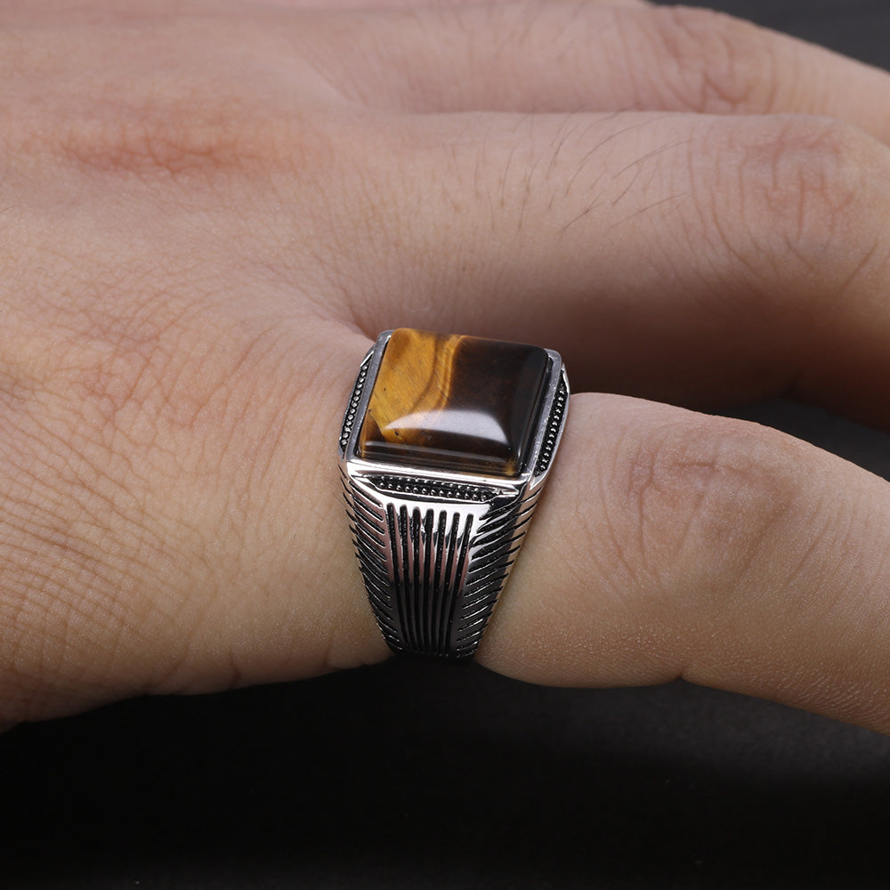 925 Native Square Tiger Eye Ring