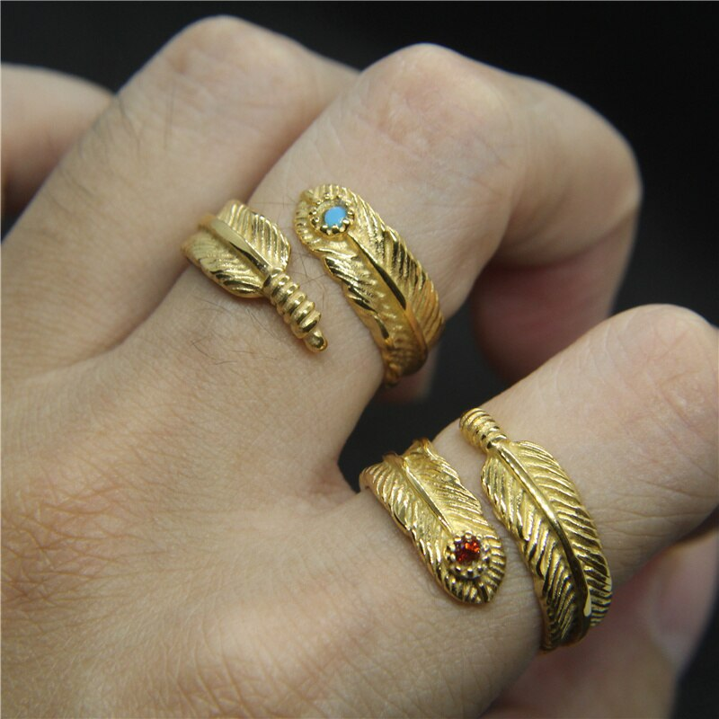 Gold Feather Gem Ring