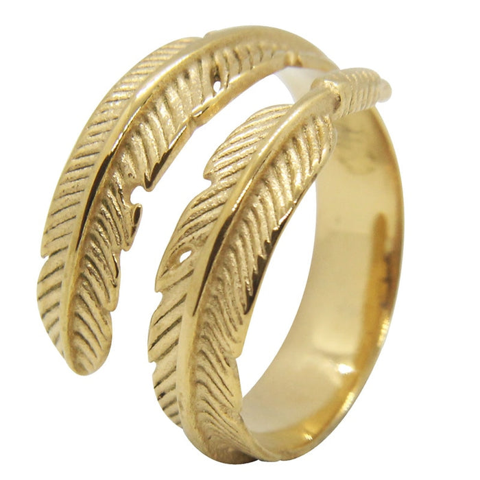 Golden feather wrap ring