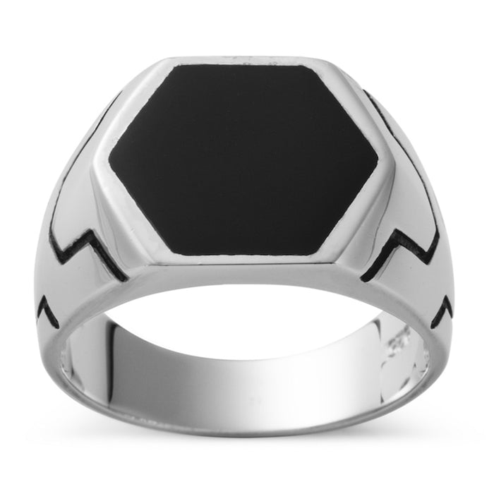 Hexed Onyx 925 Ring