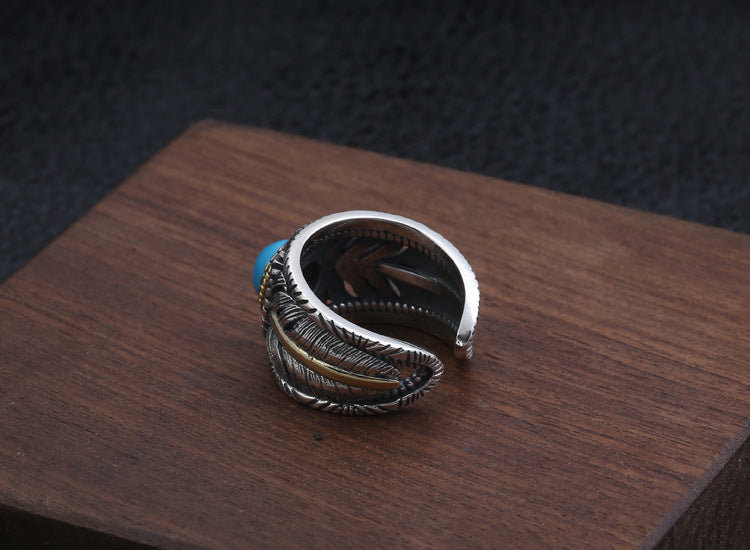 925 Sky Stone Two-Tone Feather Ring