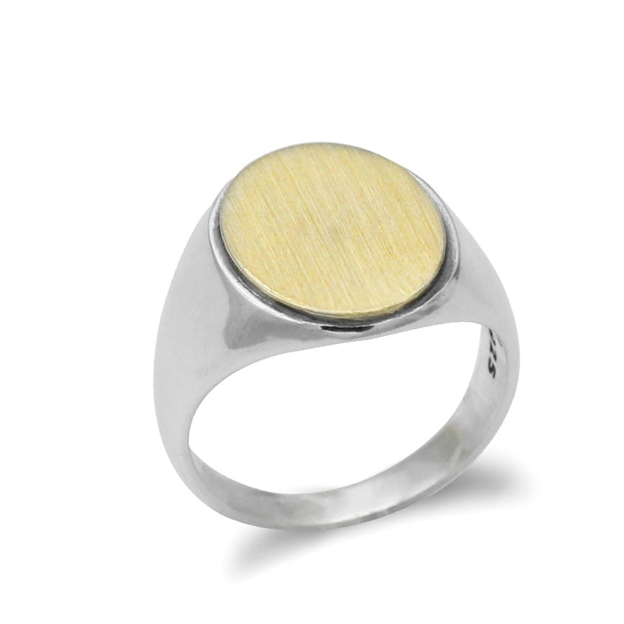 925 Flat Top Gold Oval Ring