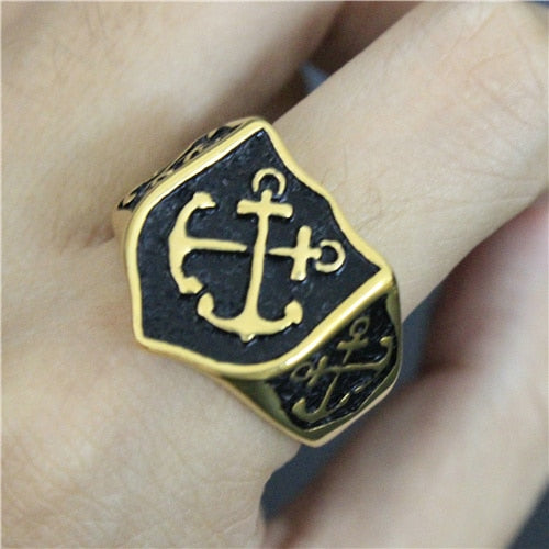 Crossed Golden Black Anchor Ring
