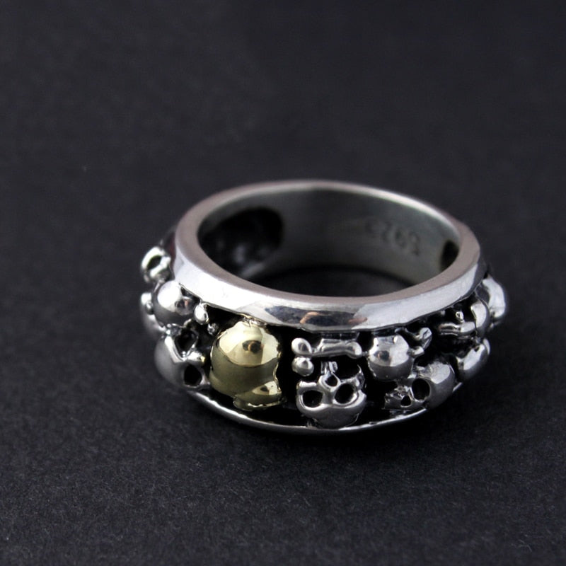 925 Stacked Skulls Band Ring