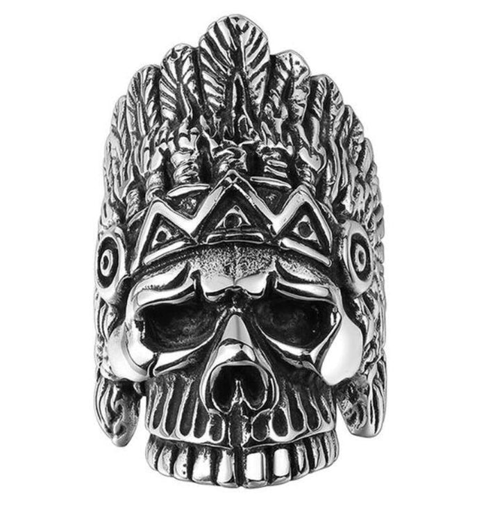 Chief Native Skull Ring