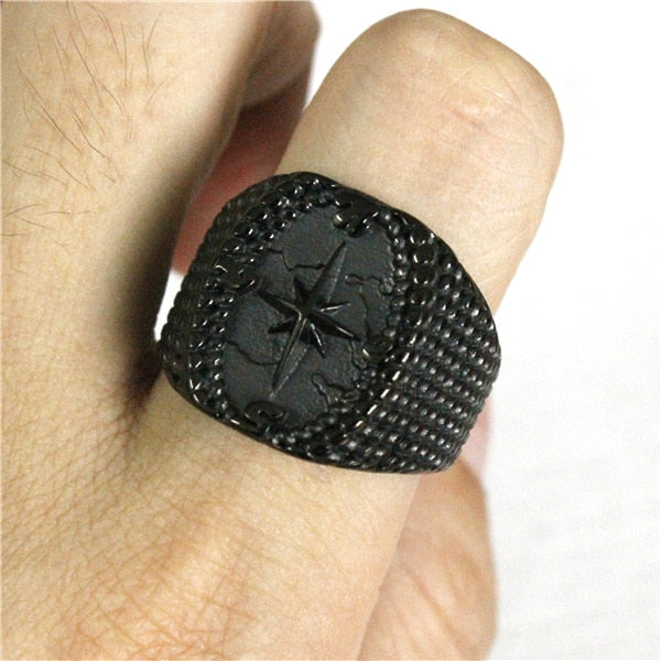 Black Compass Star Ring
