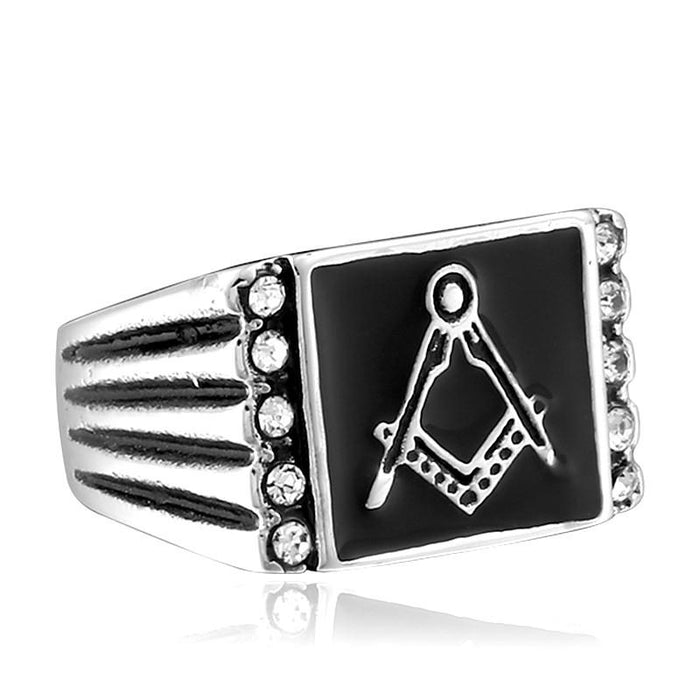 Black Mason Signet Stone Ring