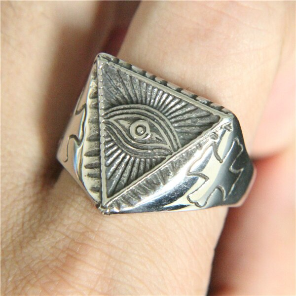 ALL SEEING EYE PYRAMID GOLD RING