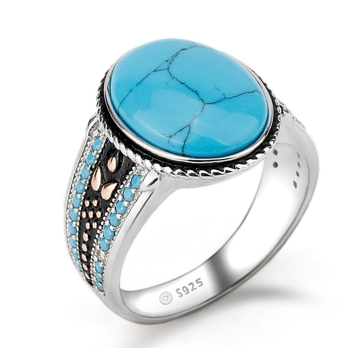 Blue Oval Turquoises Stone 925 Ring