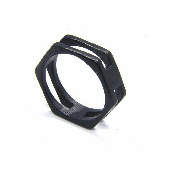 Black Hexagon Ring