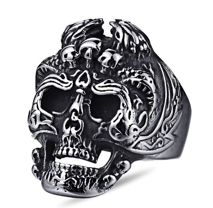 3 Demons Head Skull Ring