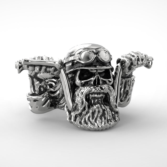 Punk Bearded Biker Skull Ring