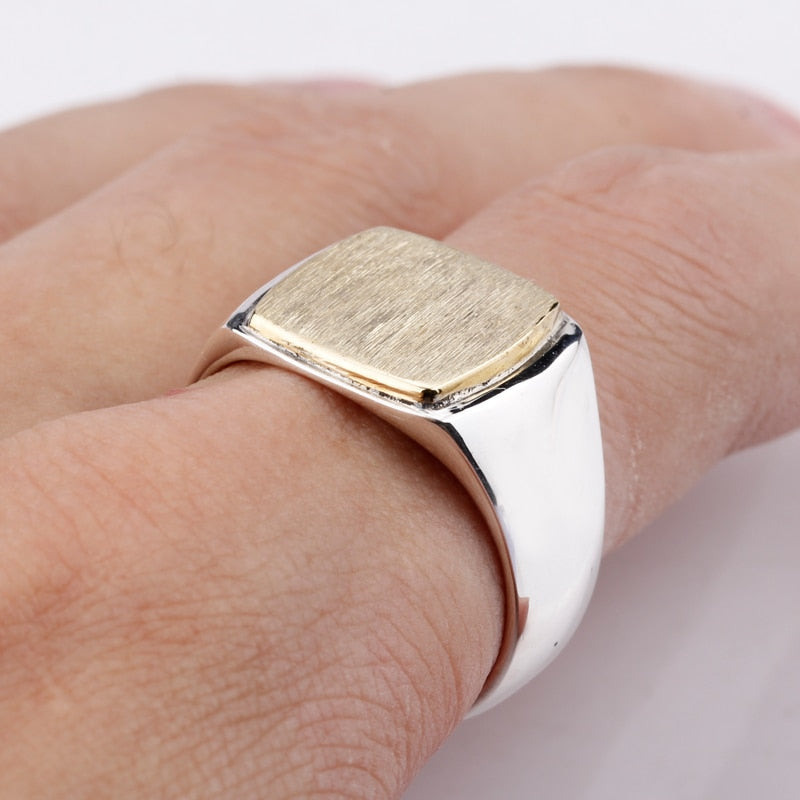 Gold Top Square 925 Ring