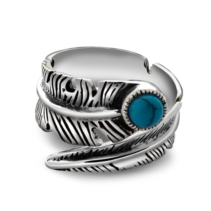 925 Native Stone Feather  Ring