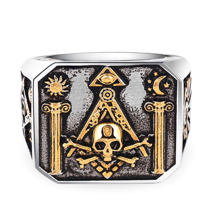 Masonic All Seeing Eye Skull Ring