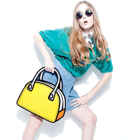 HelloDefiance, Yellow Lady's Handbag - 2D Bag, best, HelloDefiancecheap