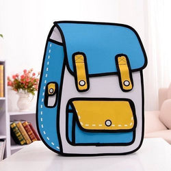 Sky Blue School Style w/ Pocket - 2D Bag