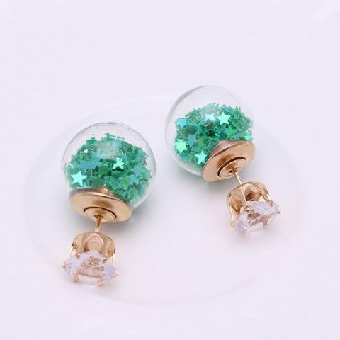 Double-Sided Double-Ball Earrings Green Stars Clear Orb
