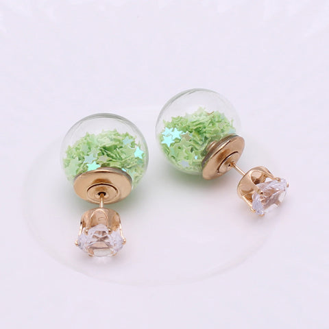 Light Green Double-Ball Earrings Double-Sided Stars Clear Orb