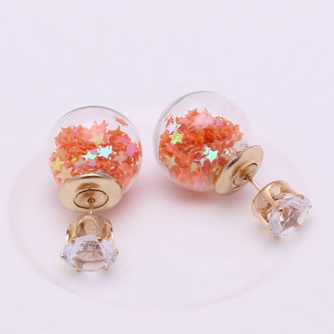 Orange Double-Ball Earrings Double-Sided Jewelry Best Website