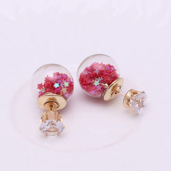 Red Rose Double-Ball Earrings Double-Sided Jewelry Beautiful