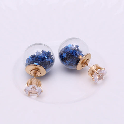 Top Earring Website Double-Ball Earrings Blue