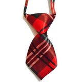 Red Check-Stripes Dog Tie