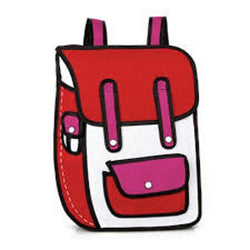 Red School Style w/ Pocket - 2D Bag
