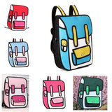 HelloDefiance, Blue w/ Pink School Style w/ Pocket - 2D Bag, best, HelloDefiancecheap