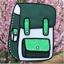 HelloDefiance, Green School Style w/ Pocket - 2D Bag, best, HelloDefiancecheap