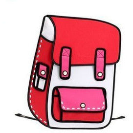 HelloDefiance, Red School Style w/ Pocket - 2D Bag, best, HelloDefiancecheap