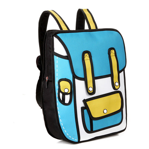 HelloDefiance, Sky Blue School Style w/ Pocket - 2D Bag, best, HelloDefiancecheap