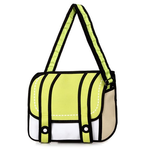 HelloDefiance, Neon Yellow Two-Strap Buttoned - 2D Bag, best, HelloDefiancecheap